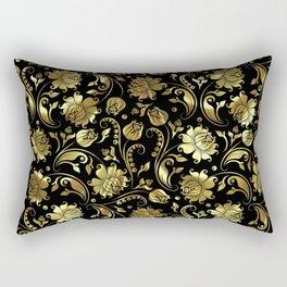 Black & Gold Foil Floral Damasks 3 Rectangular Pillow