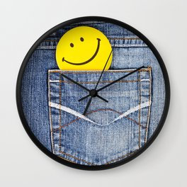 Smile in jeans pocket Wall Clock