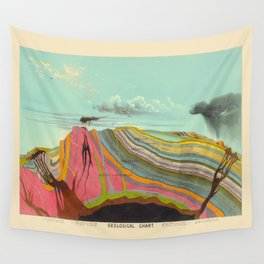 Geological Chart Vintage Illustration by Levi Walter Yaggy 1887 Colorful Pictorial Earth Crust Image Wall Tapestry