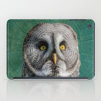 grey iPad Cases featuring GREY OWL by Catspaws
