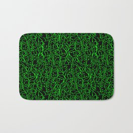 Elio's Shirt Faces Bright Green Neon on Black Bath Mat
