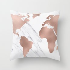 Marble World Map Rose Gold Pink Throw Pillow