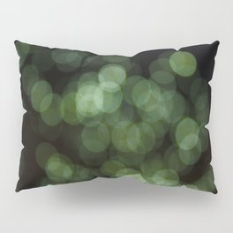 Bokeh Blurred Lights Shimmer Shiny Dots Spots Circles Out Of Focus Green Pillow Sham