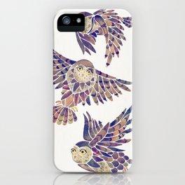 Owls in Flight – Mauve Palette iPhone Case