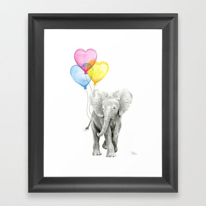 Elephant Watercolor With Balloons Rainbow Hearts Baby Animal Nursery Prints Framed Art Print