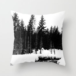 St. Helens Snowshoe + River Throw Pillow