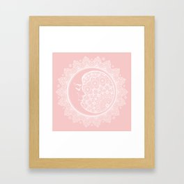 Mandala Moon Pink Framed Art Print