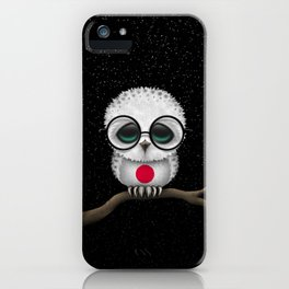 Baby Owl with Glasses and Japanese Flag iPhone Case