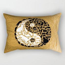 Yin-Yang Cats - Gold Rectangular Pillow