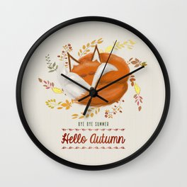 Hello Autumn Wall Clock