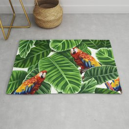 tropical leaves macaw pattern Rug