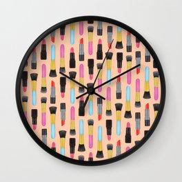 Lipstick and makeup Brushes Pastel Watercolor Artwork | Make-up Pattern | Orange Makeup pattern Wall Clock