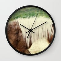 pony Wall Clocks featuring Pony by angela haugland