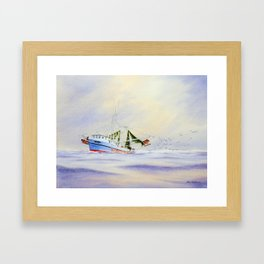 Shrimp Boat On The Gulf Framed Art Print
