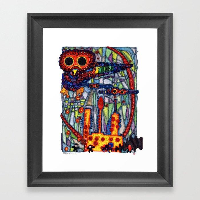Owls Over The Stock Exchange Framed Art Print