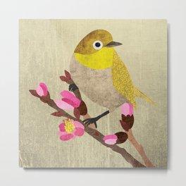 Warbling white-eye / Japanese white-eye bird, textured illustration / artwork Metal Print