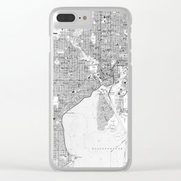 Vintage Map of Tampa Florida (1944) BW Clear iPhone Case