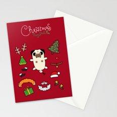 Christmas Pug Doll Stationery Cards