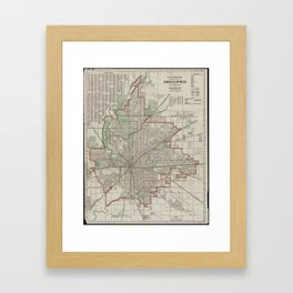 Vintage Map of Indianapolis Indiana (1921) Framed Art Print