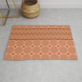 African Ethnic Tribal Ochre Pattern Rug