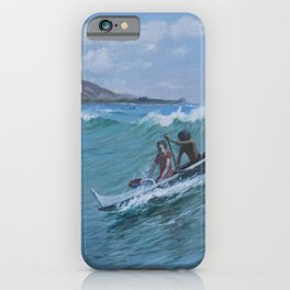 Canoe Surfing, Waikiki, Hawaii nautical seascape painting by D. Howard Hitchcock iPhone Case