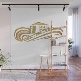 Colombian Sombrero Vueltiao in Gold Leaf Style Wall Mural
