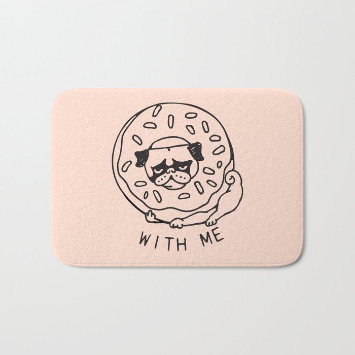 Donut Pug with Me Bath Mat