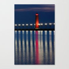 Grand Haven Pier Lighthouse and Reflections Canvas Print