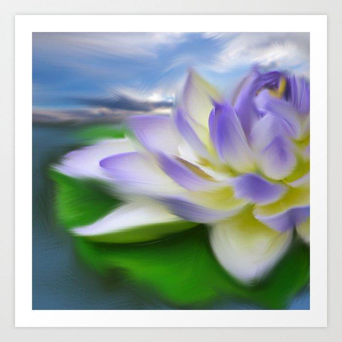 Purple Blue Lotus Flower On Water Painting Art Print By Girlytrend