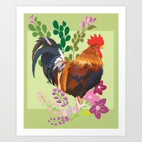 rooster Art Prints featuring rooster by Caracheng