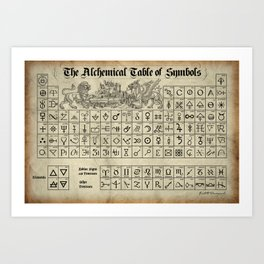 The Alchemical Table of Symbols Art Print