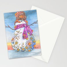 Sunset Daisy Snowman Stationery Cards
