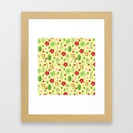 Tropical yellow red green modern floral pattern Framed Art Print