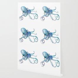 Octopus, turquoise blue, sky blue underwater scene sea world octopus art Wallpaper