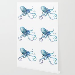 Octopus, turquoise blue, sky blue underwater scene sea world octopus art Wallpaper