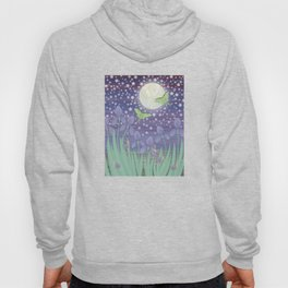 Moonlit stars, luna moths, snails, & irises Hoody