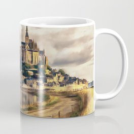 Mont Saint Michel castle painting, French island scenery, Normandy France nature, travel art poster Coffee Mug