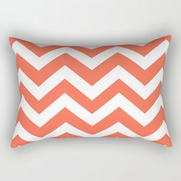 Tomato - red color - Zigzag Chevron Pattern Rectangular Pillow