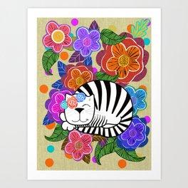 Molly Cat in flowers Art Print