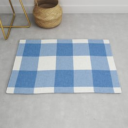 Blue and White Buffalo Check Rug