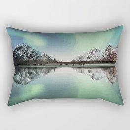 Northern Lights in Flakstad Norway Artwork Rectangular Pillow