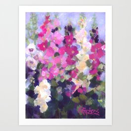 Pink Hollyhocks in My Garden Art Print