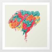 brain waves Art Prints featuring BRAIN WAVES by Olli Hietala