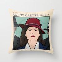 agent carter Throw Pillows featuring Agent Carter by saintsandstorms