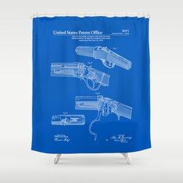 Breech Loading Rifle Patent - Blueprint Shower Curtain