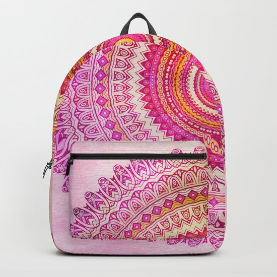 Watercolor Mandala in warm pastel colors Backpack