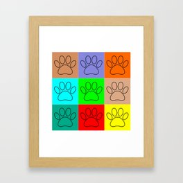 Puppy Paws In Squares Framed Art Print