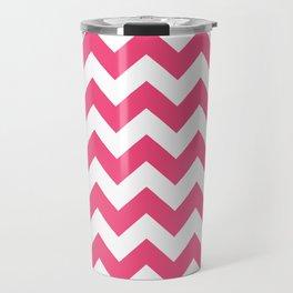 Chevrons White & Pink Travel Mug