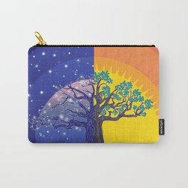 Stylized silhouette of big tree, day and night landscape Carry-All Pouch