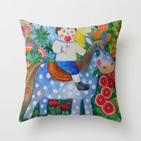 pony Throw Pillows featuring Pony by oxana zaika